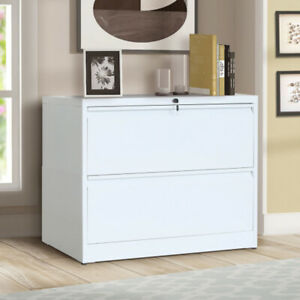 2 Drawer Lateral File Cabinet Lockable Heavy Duty Metal Filling Cabinets White