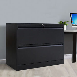 2 Drawer Lateral File Cabinet Home Office Filing Cabinet With 2 Drawers Black