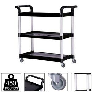 Rolling Utility Cart Portable 3 Tier Storage Tools Kitchen Office Service Garage