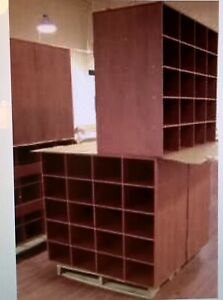 Large 42 Wooden Cubbyhole Fixture Retail Clothing Store Display Garage Office