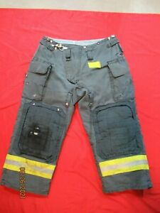 Morning Pride Fire Fighter Turnout Pants 38 X 26 Black Bunker Gear Rescue