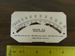 Vintage 1930s 1940s Panel Meter Face Ac Volts With Mirror Scale