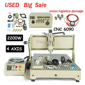 Cnc 6090 4axis Router Engraver 2 2kw Vfd Engraving Milling Machine Usb Used Usus