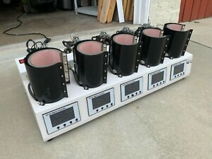 Used Industrial Heat Press Nation 5 Mug Cup Ceramic Press With Gy 06 Controllers
