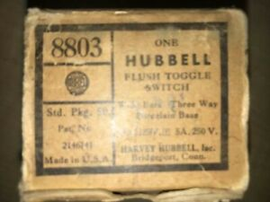 Hubbell 8803 Vintage 3 way Toggle Switches Porcelean Base In Box