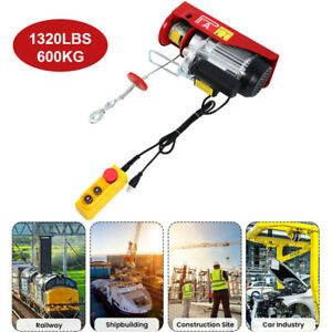 1320lbs Electric Hoist Winch Lifting Engine Crane Lift Hook Hanging Cable Pulley