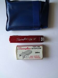 Vintage Red Swingline Tot 50 Mini Stapler With Box Of Staples And Pouch Works