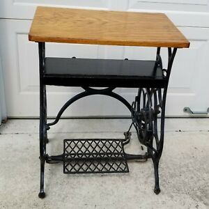 Vintage Sewing Machine Base Table With Wood Top Treadle And Shelf
