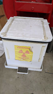 Biodex Shielded Lead Lined Stainless Steel Waste Container Trash Can 12x12x12