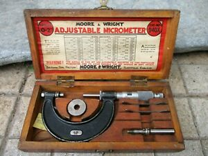 Vintage Moore Wright Sheffield Ltd England Micrometer Quality Tool With Box