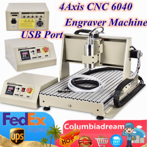 4axis 6040 Cnc Router Engraver Woodworking Engraving Milling Machine Usb 1 5kw