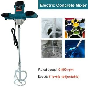 Electric Handheld Concrete Mixer Drill 2100w Portable Cement Mixing Stirrer Blue