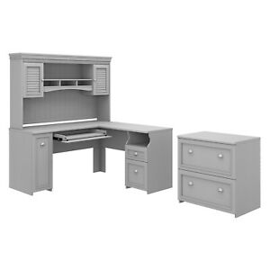Bush Furniture Fairview 60w L Shaped Desk With Hutch And Lateral File Cabinet