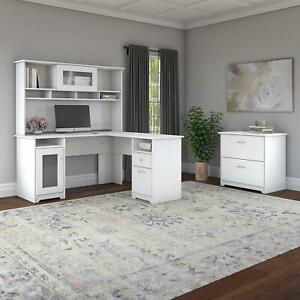 Bush Furniture Cabot 60w L Shaped Computer Desk With Hutch And Lateral File Cabi