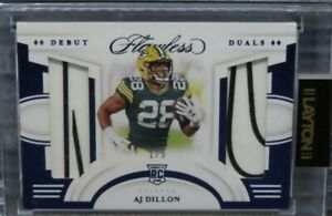 2020 Flawless AJ Dillon Blue Debut Duals NIKE Patch Rookie Card RC #1 5 Packers $299.99