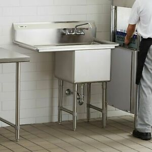 38 1 2 Stainless Steel Commercial Nsf Prep Sink With Left Drainboard