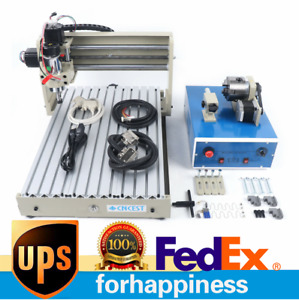 4 Axis 3040 Cnc Router Engraver Milling Cutting Carving Cutter Machine 400w