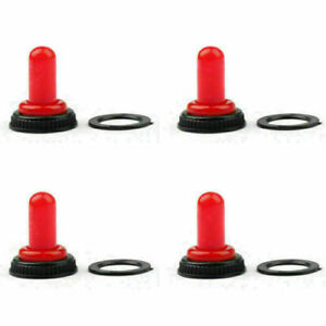 4x Car Toggle Switch Boot 12mm Rubber Waterproof Cover Cap Ip67 T700 1 Red H2