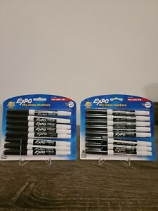 Lot Of 2 Expo Low odor Dry Erase Markers Fine Point Black 8 count
