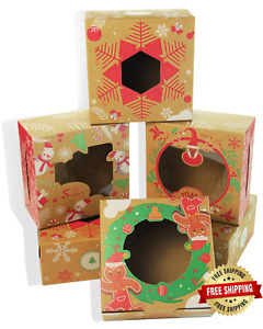 Yotruth Christmas Cookie Boxes With Window 30pcs 6x6x3 Kraft Bakery Boxes Macar