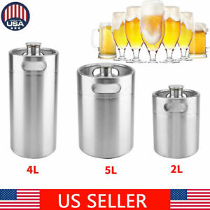 2 5l Mini Keg Beer Growler Stainless Steel Barrel Bottle With Spiral Cover Lid