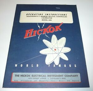Hickok 680 Calibrator Crystal Controlled Operating Instructions For Television
