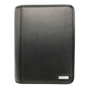 Franklin Covey Classic Black Leather 7 Ring Zippered Binder Planner Organizer