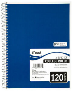Mead 05748 College Ruled Spiral Notebook White Paper 10 5 X 7 1 2