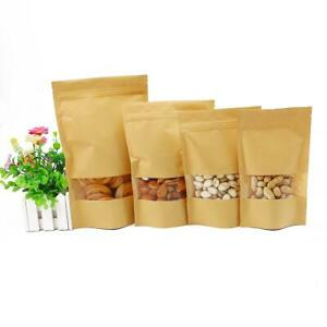 Kraft Paper Stand Up Pouch With Clear Window Sealable For Zip Food Pack Lock Bag