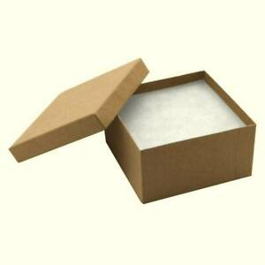 100 Boxes Kraft Cotton Filled Jewelry Packaging Craft