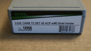 RCBS Carbide 3 Die Reloading Set 45 ACP TC with #3 Shell Holder P N 18968 NEW $89.00