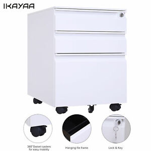 Ikayaa File Cabinet 3 Drawers Cold Rolled Steel Sheet Cabinet With Lock 5 Caster
