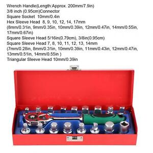 For 18pcs Ratchet Socket Wrench Kit 3 8in Chassis Oil Box Screw Set Repair Hand