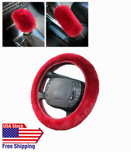 3pcs Car Universal Warm Soft Fuzzy Plush Auto Steering Wheel Cover For Winter