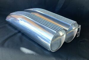 Air Intake Scoop Shotgun Style Polished Aluminum Finned Top Single Amp Dual Carb