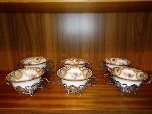 6 Lenox Gorham Sterling Holders Painted Roses Raised Gold Bouillon Bowls Cups