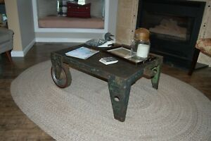 Authentic Vintage Industrial Cart Coffee Table Factory Shop Wood Steel Iron 2