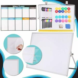 Cheffun White Magnetic Board Dry Erase Whiteboard Desktop With Stand