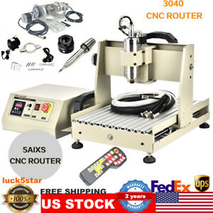 Usb 5 Axis Cnc 3040 Router Engraver Wood Milling Machine With Remote 800w New