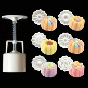Moon Cake Hand Pressure Mold 50g 6 Flower Stamps Cutter Decorating Braking Tools $6.99