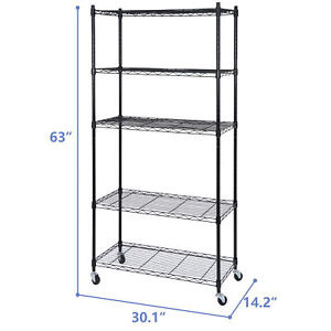 5 Tier Storage Shelf Rack Wire Unit Shelves For Kitchen Office With Wheel Caster