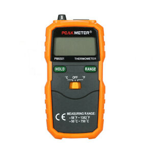 Peakmeter Pm6501 Lcd Display K Type Temperature Meter Thermocouple G4i9