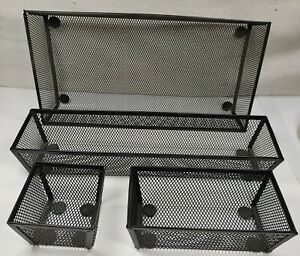 Black Mesh Desk Organizer 4 Piece Removable Sections Rubber Stay In Place Bottom