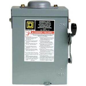 30 Amp 120 volt 2 pole Fused Outdoor General Duty Safety Switch Disconnect Box