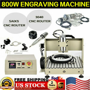 5 Axis 3040 Cnc Router Engraver Drilling Milling Wood Machine Cutter Vfd 800w Us
