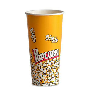 Popcorn Supplies Yellow Popcorn Cups Tubs 24oz Qty Of 100