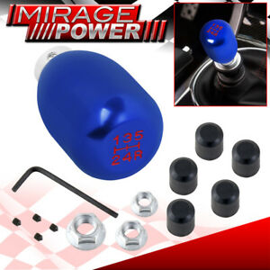 Universal 5 Speed Mt Manual Shift Shifter Race Type Knob Blue White Lettering