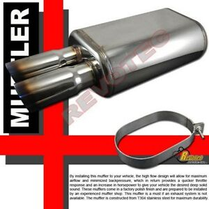 Universal T304 Stainless Steel Dual Dtm Burnt Tip Exhaust Muffler 2 5 Inlet