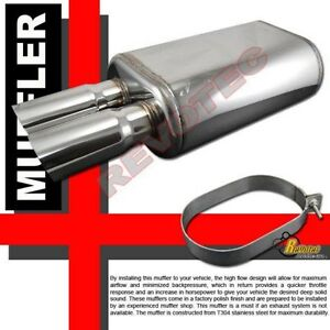 Universal Dual Dtm Angle Tip Exhaust Muffler 2 5 Inlet T304 Stainless Steel