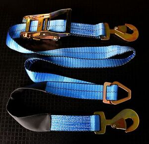4 Axle Straps Race Car Trailer Car Hauler Ratchet Tie Down Strap Flatbed Tow Bl